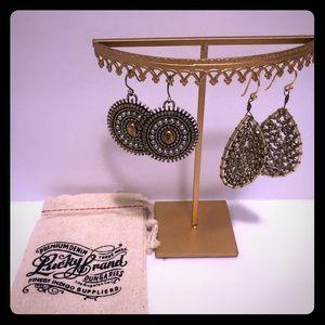 2-Pair Lucky Brand Earrings Set EUC‼️